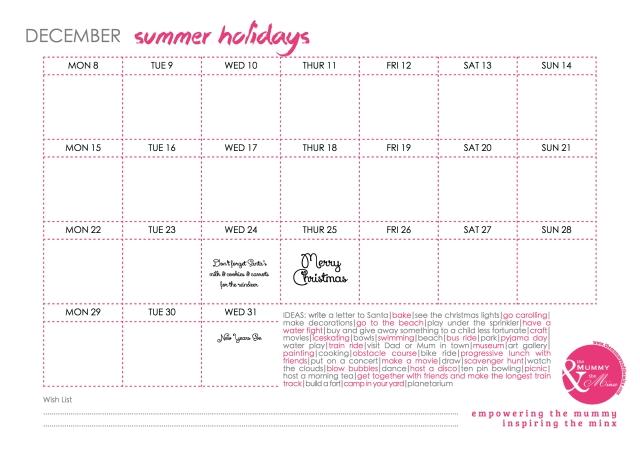 Free Printable - Summer Holiday Calendar JPEG